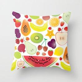 Healthy lifestyle. Fruits on white background Throw Pillow
