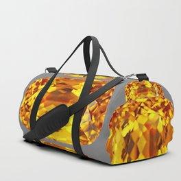 NOVEMBER GOLDEN TOPAZ FACETED GEMS GREY ART Duffle Bag
