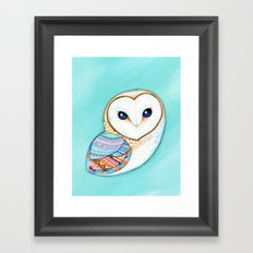 Tribal Pattern Barn Owl Framed Art Print