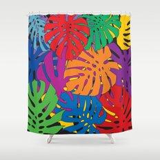 Monstera leaves in Pop Art Shower Curtain
