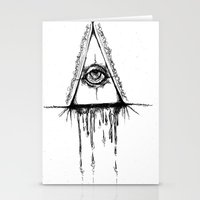 all seeing eye Stationery Cards featuring All Seeing Eye  by Emalee Røse
