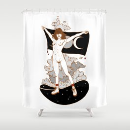 Goddess Stance Between Space & Earth Shower Curtain