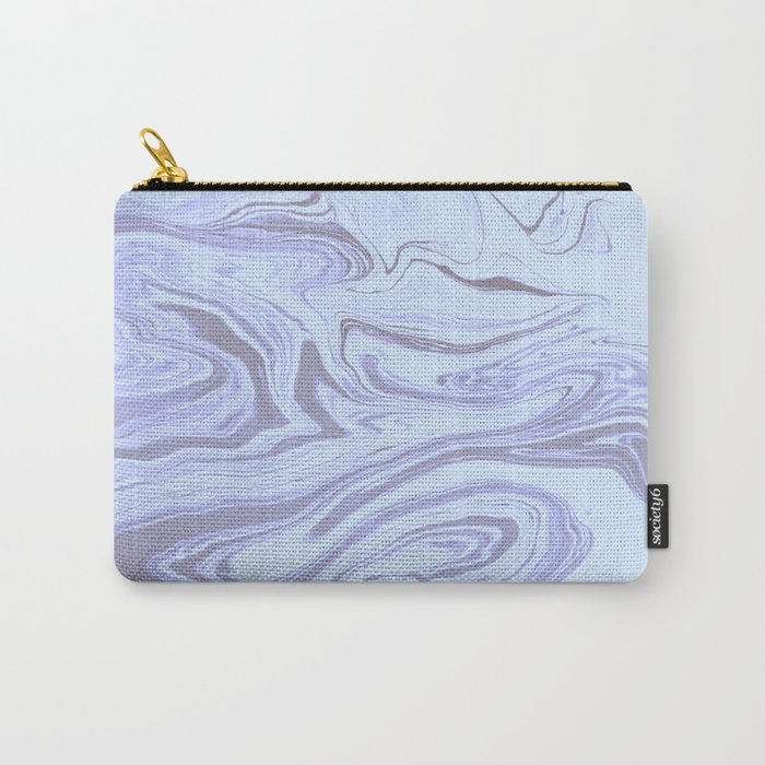 White and Lilac Marble Carry-All Pouch