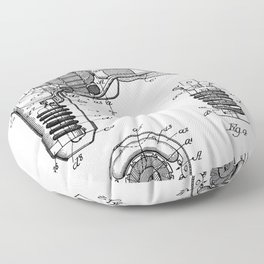 Hair Drier Patent - Salon Art - Black And White Floor Pillow