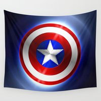 shield Wall Tapestries featuring America Shield by Thorin