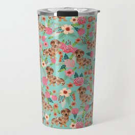 Dapple Dachshund cream doxie lover floral must have gifts dachsie flowers Travel Mug