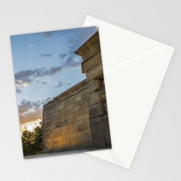 Sunset on egyptian Debod Temple in Madrid Stationery Cards