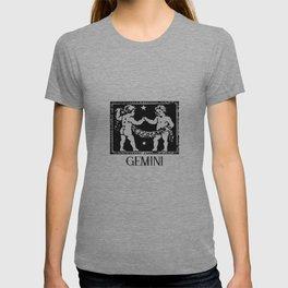 Gemini Vintage Zodiac on Living Coral T-shirt