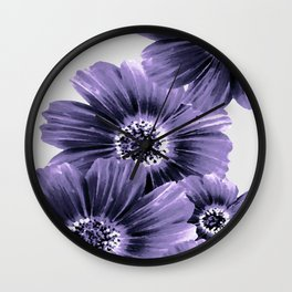 Daisies floral in soft lavender hues Wall Clock