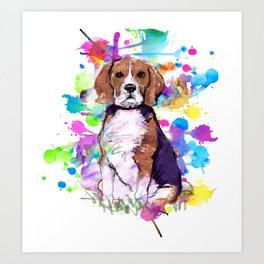 Cute watercolor beagle with paint splatters Art Print