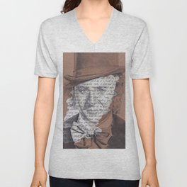 Willy Wonka Portrait with Pure Imagination Lyrics Unisex V-Neck