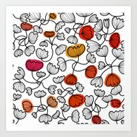 black and white floral pattern, graphic leaves Art Print