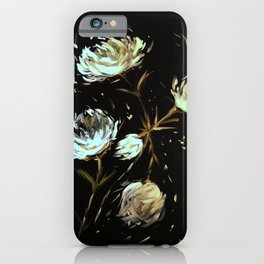 White Flowers with Gold Fleck iPhone Case