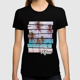 Maui Beach Hawaiian Sunset Retro Photo Island Paradise T-shirt