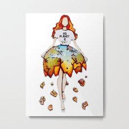 PinUp Climate Change Woman Metal Print