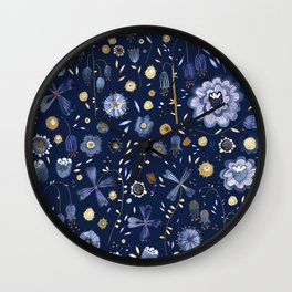 Indigo Flowers at Midnight Wall Clock