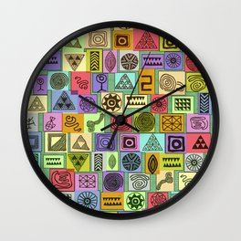 Tribal Prints in Colored Boxes Wall Clock