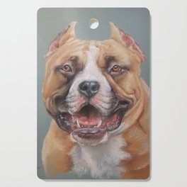 Happy Dog SMILING AMSTAFF FACE Cute pet portrait Pastel drawing Decor for Dog lover Cutting Board