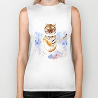 tiger Biker Tanks featuring Tiger by Anna Shell