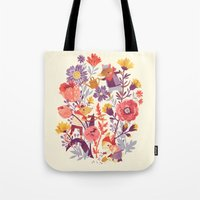 animal crew Tote Bags featuring The Garden Crew by Teagan White