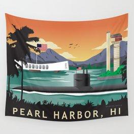 Pearl Harbor, HI - Retro Submarine Travel Poster Wall Tapestry