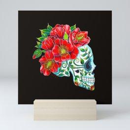 Sugar Skull with Red Poppies Mini Art Print