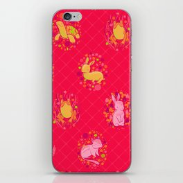 Picnic Pals animals in strawberry iPhone Skin