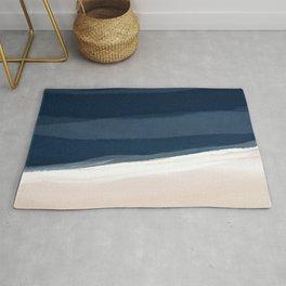 Minimal Beach Abstract 2 | Indigo and Tan Rug