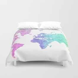 """Rainbow world map in watercolor style """"Jude"""" Duvet Cover"""