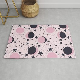 Moon and Stars in pink and blue Rug