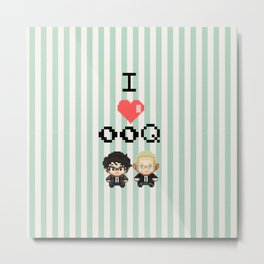 I love 00Q: Stripes Metal Print