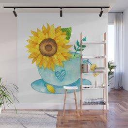 Sunflower Cup of Tea Wall Mural