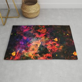 Colorful Watercolor Abstract pink red background. Multicolor grunge psychedelic texture tie dye Rug
