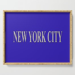 New York City (type in type on blue) Serving Tray