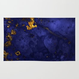 Gold Blue Indigo Malachite Marble Rug