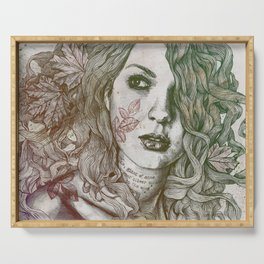 Wake: Autumn (street art woman with maple leaves tattoo) Serving Tray