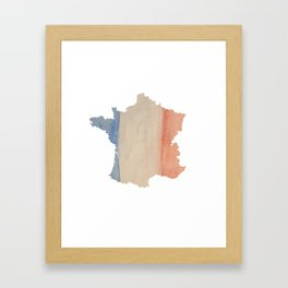 France Outlne with Tri-color Flag in Watercolors Framed Art Print