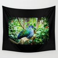 pigeon Wall Tapestries featuring Nicobar Pigeon by Thuy Ngo