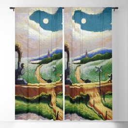 American West Classical Masterpiece 'Trains Colliding' by Thomas Hart Benton Blackout Curtain