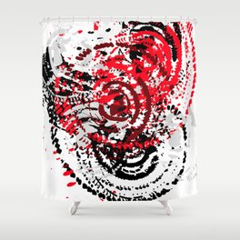 red black white silver grey abstract digital art Shower Curtain