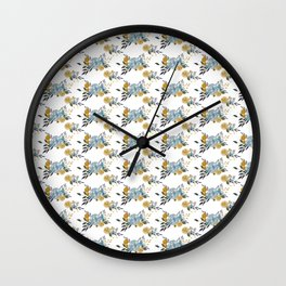 Mustard Yellow / Navy / Blue Roses & Billy Buttons Floral Pattern Wall Clock