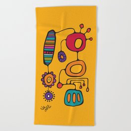 Feather Flower Chime in Color Beach Towel