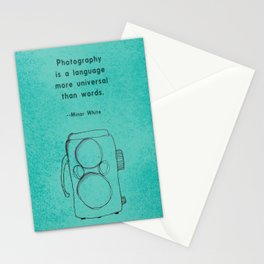 Photography Quote and Twin Lens Camera Stationery Cards