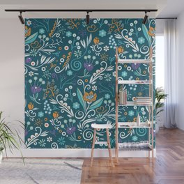 Flower circle pattern, blue Wall Mural