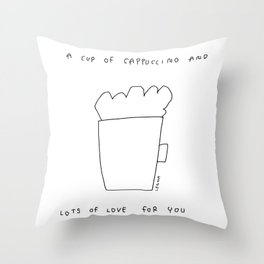 A Cup of Cappuccino and Lots of Love For You - coffee cafe latte illustration coffee lover gift Throw Pillow