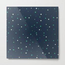Starry Dark Blue Sky Green Stars Pattern Metal Print
