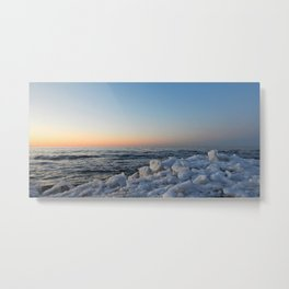 Sea and Ice at Dusk Metal Print