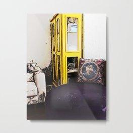 Yellow Bookcase Metal Print