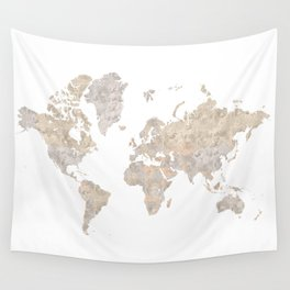 """World map in gray and brown watercolor """"Abey"""" Wall Tapestry"""