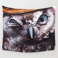 cowboy Wall Tapestries featuring cowboy owl by Кaterina Кalinich